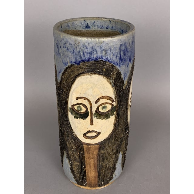 Mid 20th Century Mid-Century Face Vase, Signed Studio Pottery For Sale - Image 5 of 11