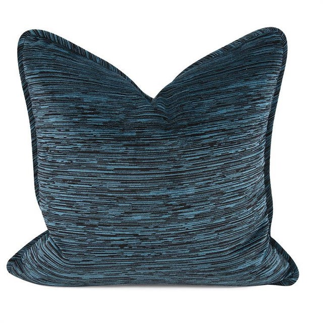 "Kenneth Ludwig Chicago Cascade Indigo 20"" Square Pillow For Sale In Chicago - Image 6 of 6"