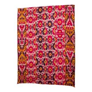 Late 19th Century Silk Ikat Uzbekistan Tribal Weaving For Sale