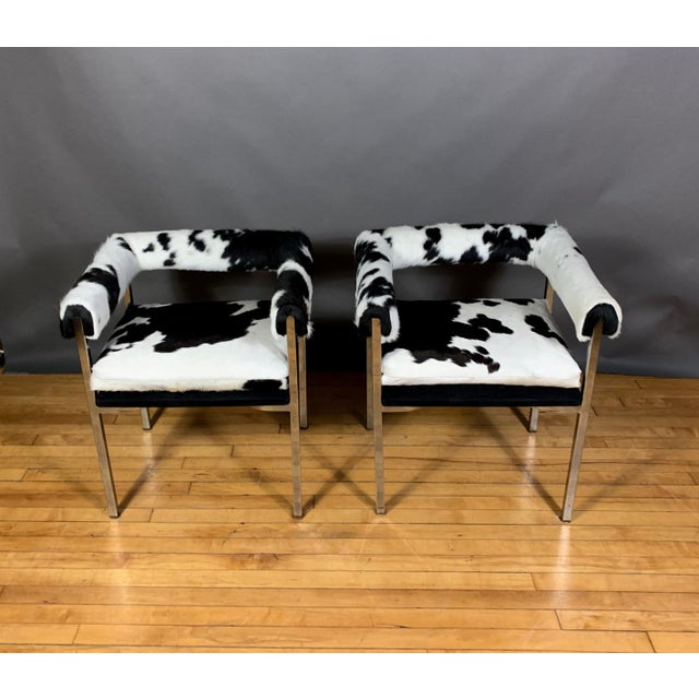 Mid-Century Modern American Modern 1960s Chrome & Hide Rollback Armchair For Sale - Image 3 of 11