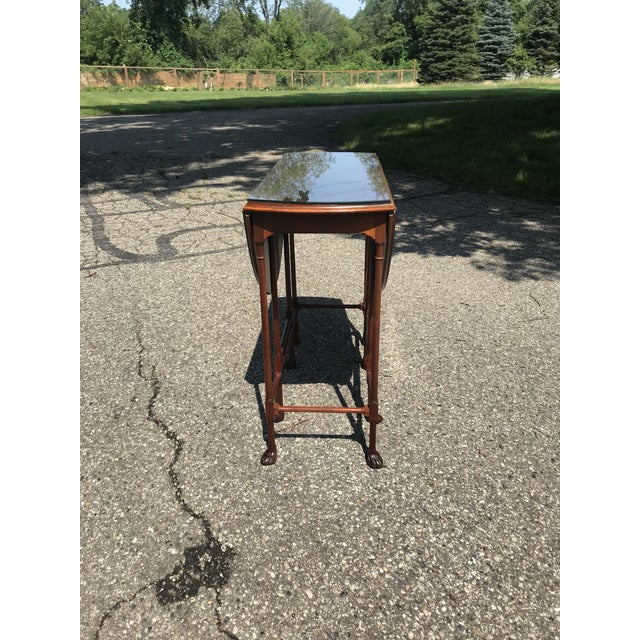 Traditional Claw Foot Walnut Side Table by Baker Furniture For Sale - Image 9 of 10