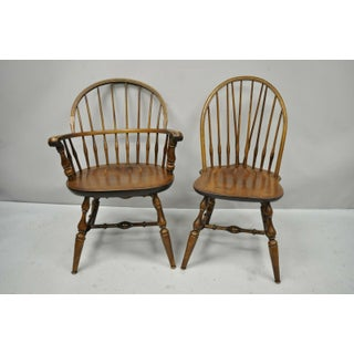 1980s Vintage Maple Nichols & Stone American Colonial Windsor Spindle Dining Chairs- Set of 6 Preview
