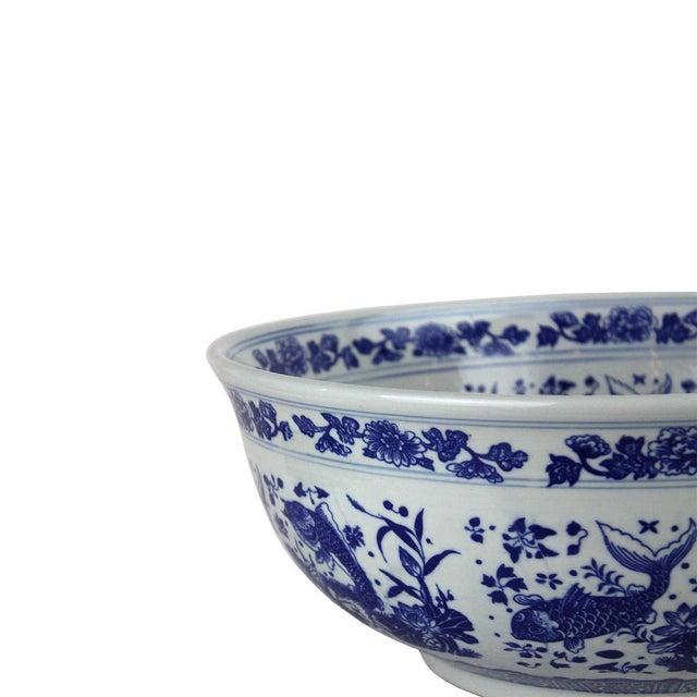 "Pasargad DC Sink Bowl White and Blue Motif Sink Bowl Material Porcelain Size L16.11"" X W16.11"" X H6.2"""