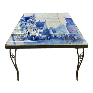 19th Century Dutch Delft Hand Painted Blue & White Tiles Coffee Table For Sale