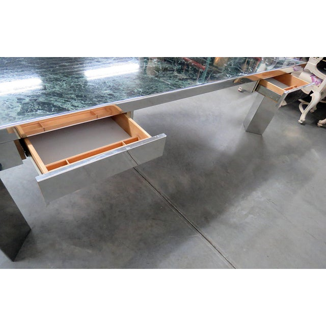 Marble Top Chrome Desk Attr. Pace Collection For Sale - Image 10 of 11