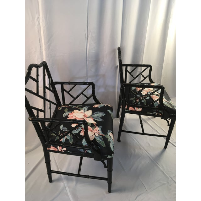 1980s 1980s Chinese Chippendale Black Lacquer Arm Chairs - a Pair For Sale - Image 5 of 11