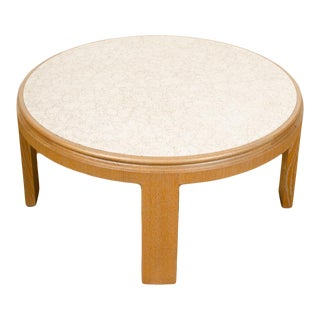 Modernist Round Cocktail Table with Delicate Eggshell Fragments Surface For Sale