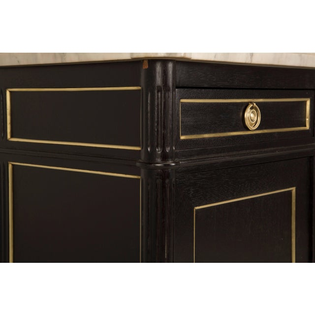 1930s French Louis XVI Style Buffet in an Ebonized Finish With a White Marble Top For Sale - Image 5 of 10