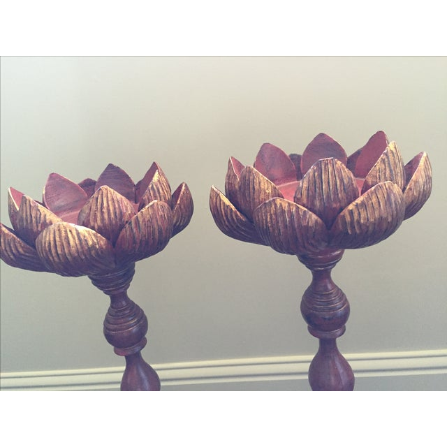 Hand Carved Lotus Candlesticks - A Pair For Sale - Image 6 of 6