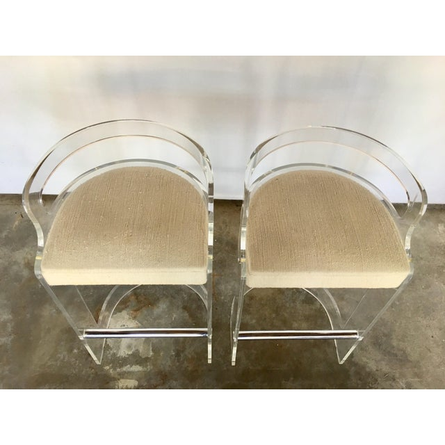 Charles Hollis Jones Vintage Lucite Bar Stools by Charles Hollis Jones for Hill Mfg. For Sale - Image 4 of 10