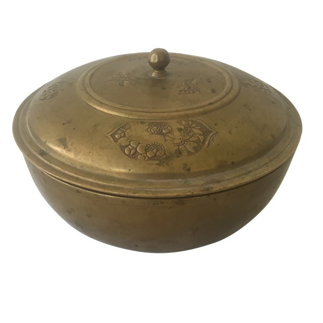 Vintage Brass Lidded Bowl For Sale