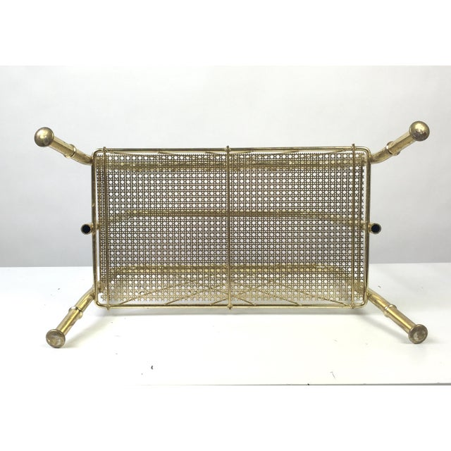 Hollywood Regency Faux Bamboo Brass Magazine Rack For Sale In Buffalo - Image 6 of 7