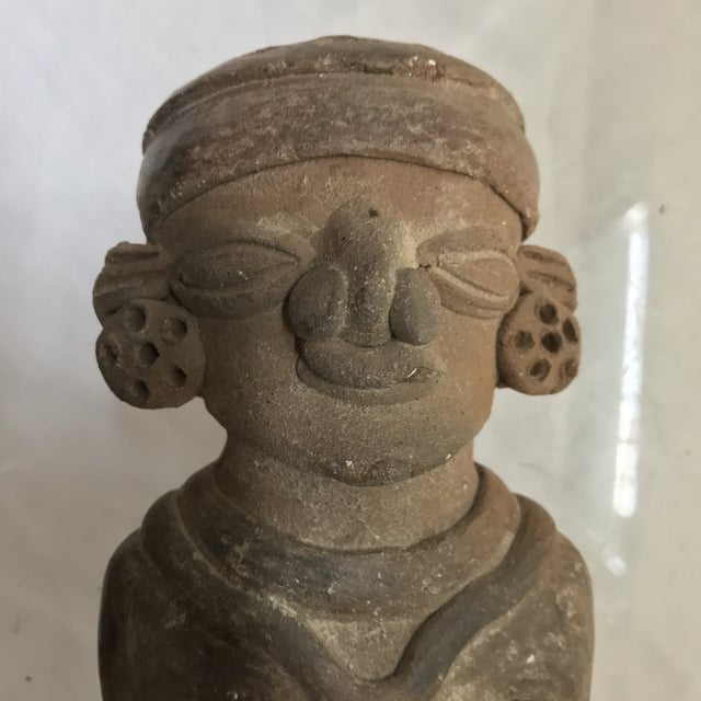 Native American Pre-Columbian Mayan or Aztec Seated Terracotta Figurine For Sale - Image 3 of 7