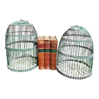 Pair Antique French Bird Cage Birdcage Green Metal Wire Dome Rope Light Fixture For Sale