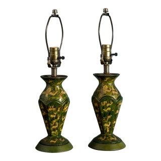 Pair of Papier-Mâché Lamps For Sale