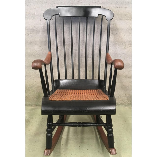 19th Hitchcock Rocking Chair With Woven Seat and Black Painted For Sale - Image 4 of 9