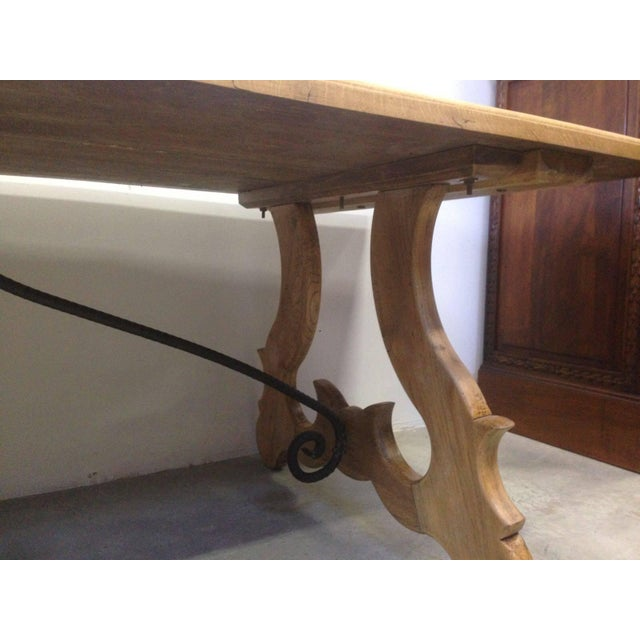 19th Century Spanish Farm Trestle Lyre Leg Dining Room Table With Forged Iron For Sale In Miami - Image 6 of 11