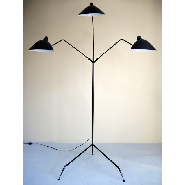 Standing Lamp With Three Arms in Black by Serge Mouille For Sale In New York - Image 6 of 8