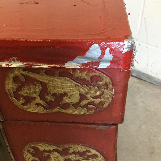 1970s Red and Gold Lacquered Chinese Trunks - a Pair For Sale - Image 5 of 13