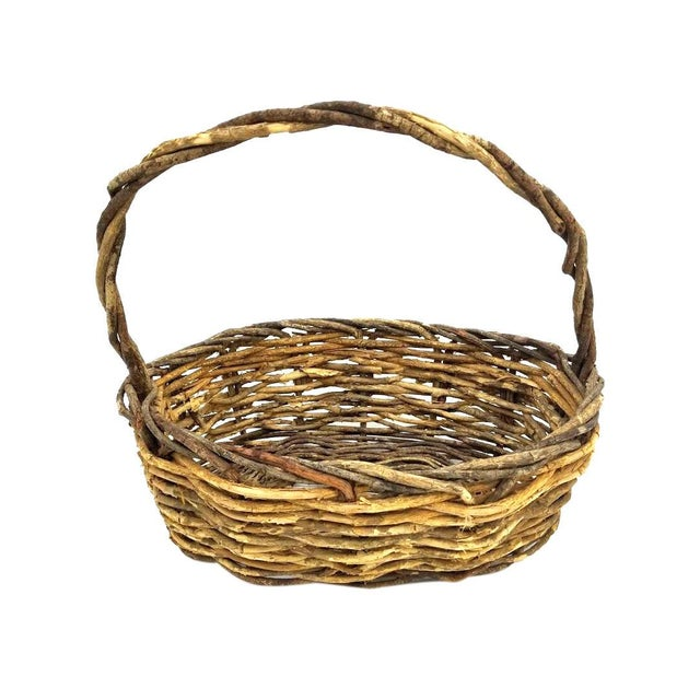 Vintage Rustic Willow Woven Branch Twig Basket For Sale - Image 9 of 9