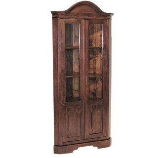 Country Walnut Corner Vitrine China Cabinet For Sale