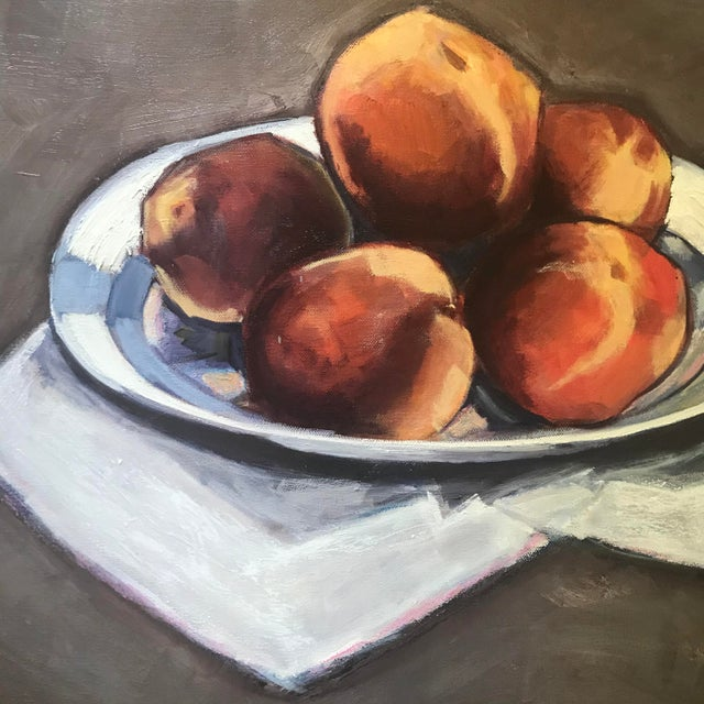 """Contemporary """"Peaches"""" Contemporary Still Life Painting by Sarah Trundle For Sale - Image 3 of 4"""