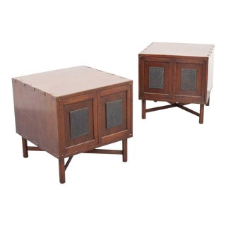 Mid-Century Modern Edward Wormley Japanese Print Block Nightstands - a Pair For Sale