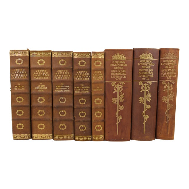Art Deco Leather-Bound Books - Set of 8 - Image 1 of 3