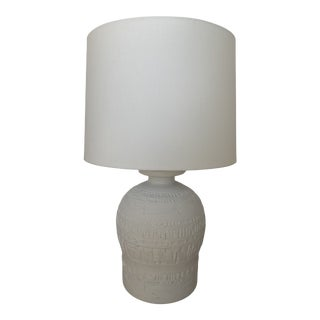 Vintage Late 20th Century White Clay Relief Patterned Textured Lamp For Sale