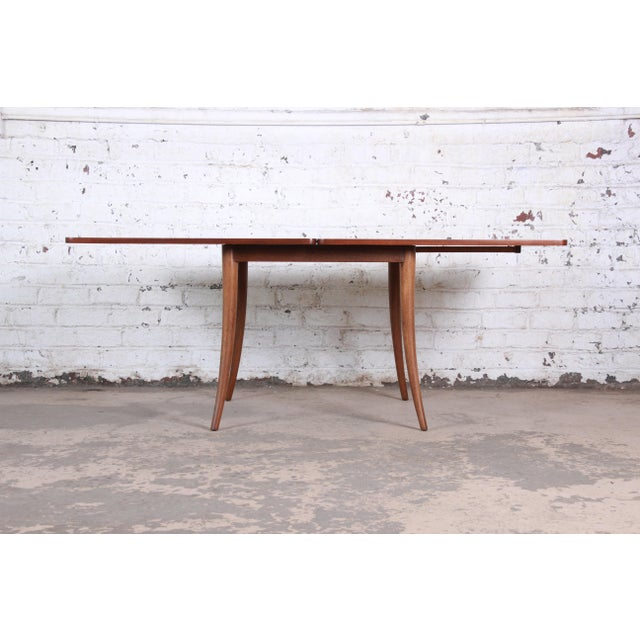 Harvey Probber Mid-Century Modern Mahogany Saber Leg Flip Top Extension Dining or Game Table For Sale - Image 9 of 11