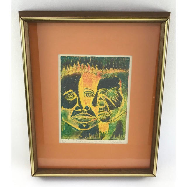 Vintage 1974 Framed A/P Relief Print Portrait by Ed Goldstein For Sale - Image 12 of 12