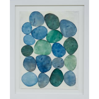 "Gina Cochran ""Bijou in Blue, No 7""Framed Original Encaustic Collage"