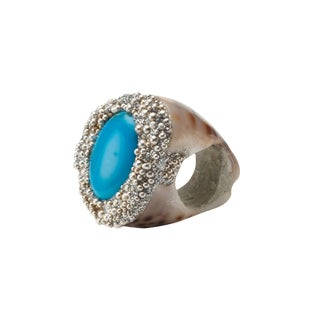 Mesi Jilly Cowrie Shell Ring With Turquoise