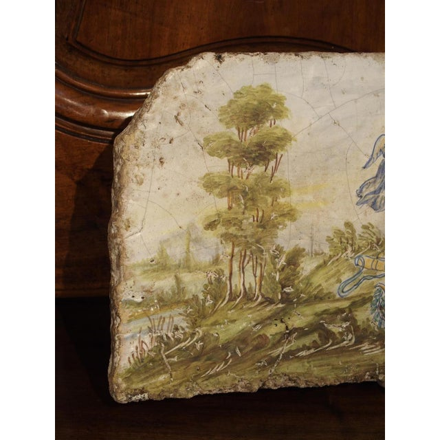 Antique Painted Tile from Italy, 17th Century For Sale - Image 4 of 6