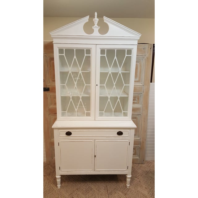 Art Deco 1940s Art Deco China Cabinet Hutch Distressed Storage Cabinet For Sale - Image 3 of 11