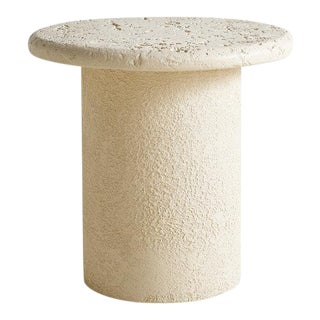 Faux Travertine Side Table For Sale