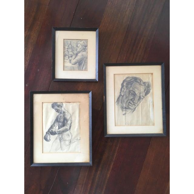 "Vintage Original ""Boxer, Portrait, Card Game"" Drawings by David Fredenthal - Set of 3 For Sale - Image 10 of 11"