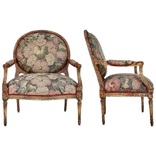 Louis XVI Style Armchairs With Tapestry Floral Fabric - a Pair For Sale