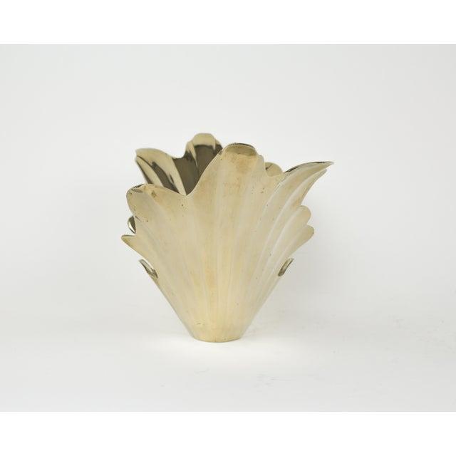 Vintage 1950s Art Deco Style Brass Vase For Sale - Image 4 of 7