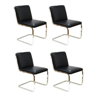 Brueton Mid-Century Modern Chrome Dining Chairs With Leather Upholstery For Sale