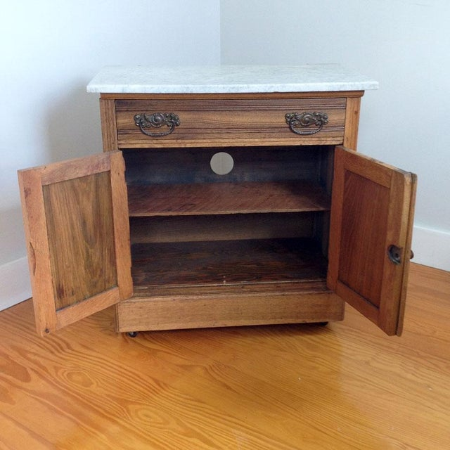 Early 20th Century Country Oak and Marble Washstand Cupboard For Sale - Image 6 of 10