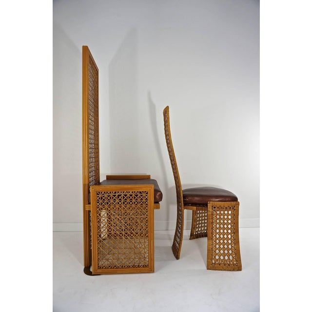 1980s Italian Rattan Dining Chairs With French Caning by Vivai Del Sud - Set of 8 For Sale - Image 5 of 11
