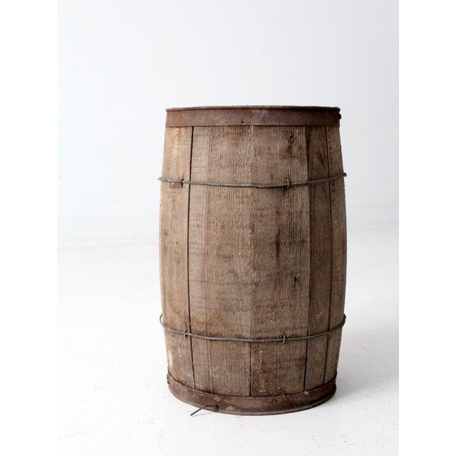 Wood Antique Primitive Wooden Barrel For Sale - Image 7 of 9