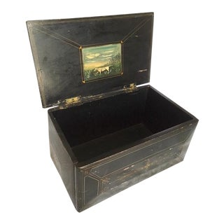 Antique Black and Gold Primitive Handpainted Wooden Box For Sale