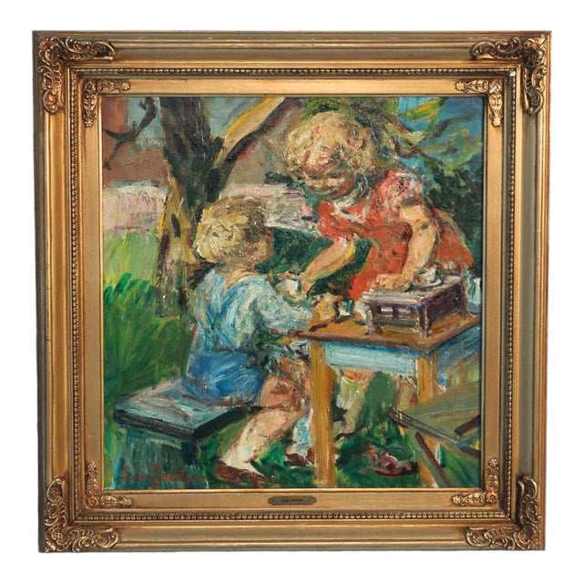Early 20th Century Antique Ludvig Jacobsen Boy and Girl Playing Tea Party Original Oil on Canvas Signed Painting For Sale