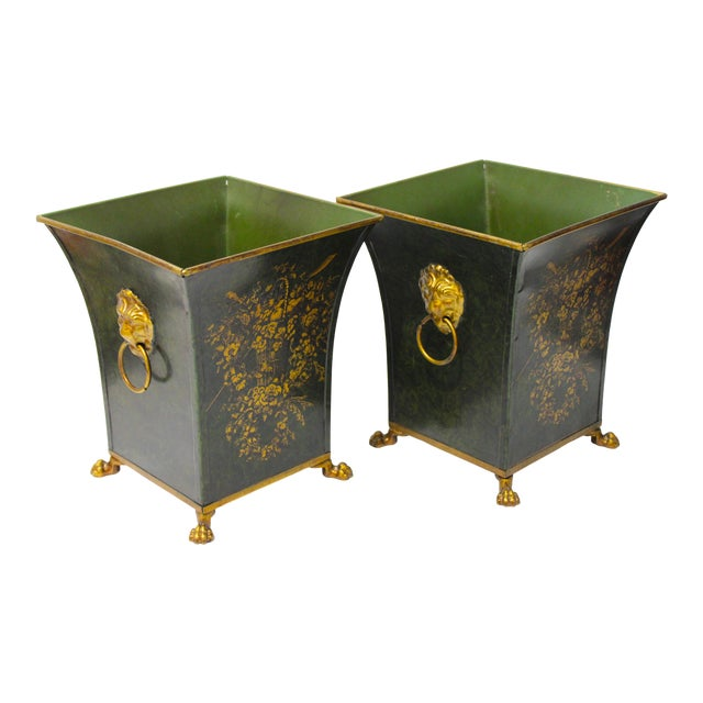 Vintage Dark Green Cachepot With Lion Handles - a Pair For Sale