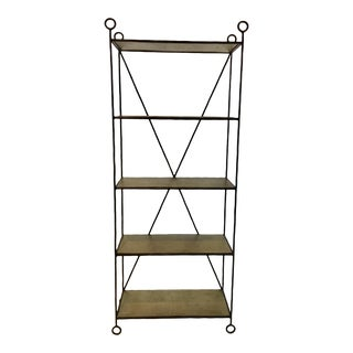 Currey & Co. Modern Antique Brass Metal Jorin Etagere For Sale