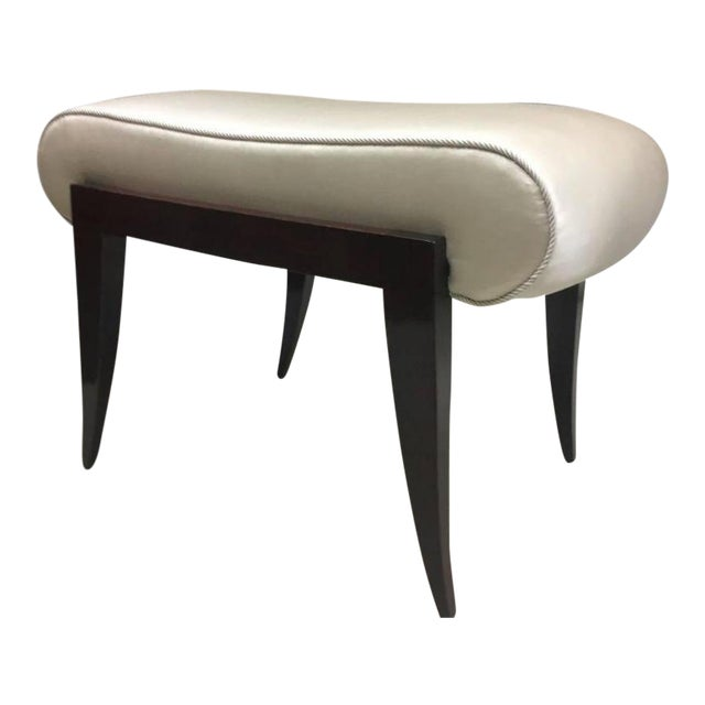 Maison Dominique Rarest Refined Art Deco Bench Newly Covered in Satin Silk For Sale