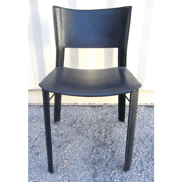 Black Leather Dining Chairs - Set of 4 - Image 2 of 6