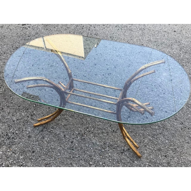 1960s 1960s Hollywood Regency Gilt Faux Bamboo Glass Top Coffee Table For Sale - Image 5 of 13